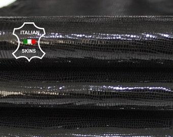 BLACK TEJUS REPTILE texture print textured shiny Italian Goatskin Goat leather skin skins 2-3sqf 0.8mm #A6923