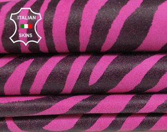 MAGENTA ZEBRA print fuchsia fuschia Italian Goatskin Goat leather material for sewing crafts fabric 2 skins hides total 7sqf 0.9mm #A6019