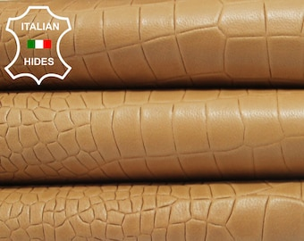 SANDY TAN crocodile embossed vegetable tanned Italian genuine Lambskin Lamb Sheep leather 2 skins hides total 17sqf 0.8mm #A3908