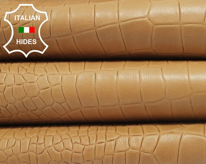 SANDY TAN crocodile embossed vegetable tanned Italian genuine Lambskin Lamb Sheep leather 2 skins hides total 17sqf 0.8mm #A3908