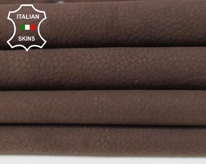 NABUCK BROWN Pebble grain grainy soft Italian Calfskin Calf leather skin skins hide hides 6sqf 0.7mm #A6282