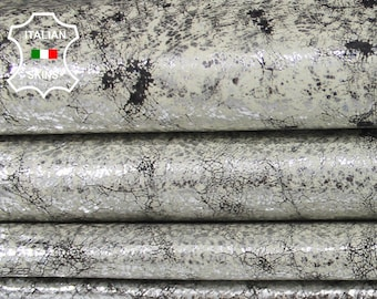 METALLIC SILVER DISTRESSED antiqued white & dark brown vintage look Italian Pigskin leather 2 skins hides total 14sqf 0.6mm #A6542
