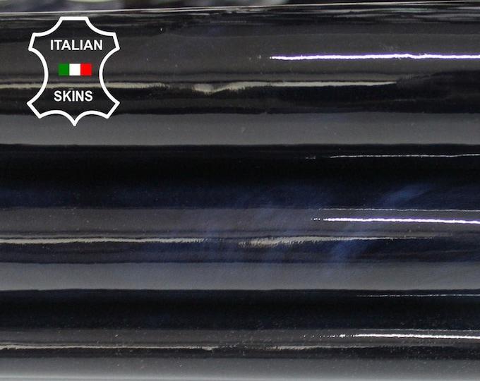 PATENT MIDNIGHT BLUE dark blue cloudy shiny wet look Italian Lambskin Lamb Sheep leather 2 skins hides total 12sqf 0.5mm #A6439
