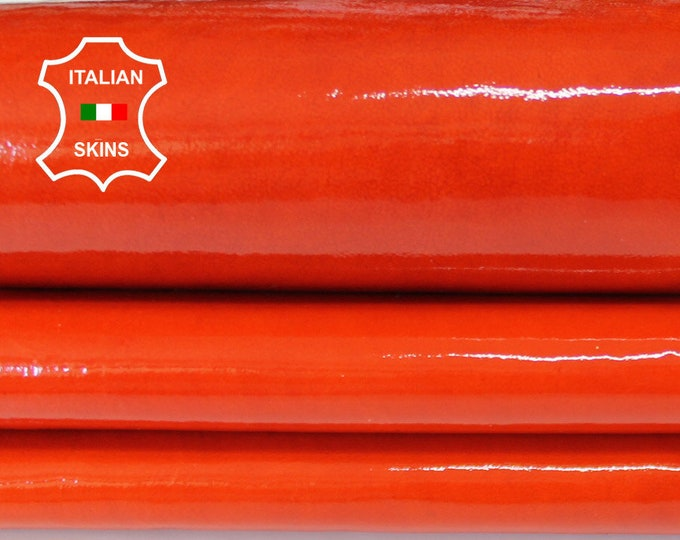 FIRE ORANGE PATENT shiny wet look thick Italian Goatskin Goat leather 2 skins total 10sqf 1.1mm #A6635
