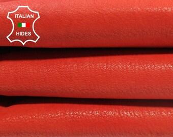 RED stiff rough orangy red vegetable tan Italian Goatskin Goat leather skin hide skins hides 4sqf 1.2mm #A4387