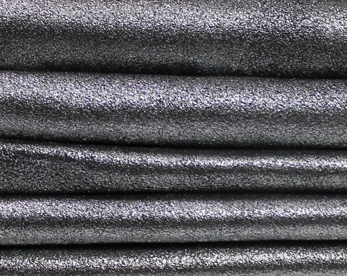 METALLIC SMOKED CHROME Silver antiqued thin soft Italian Lambskin Lamb Sheep leather material for sewing skins hides 5sqf 0.4mm #A4505