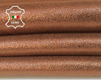 BROWN SHIMMER and SHINE pearlized look Goatskin Goat Leather skin hide skins hides material for sewing crafts 3sqf 0.9mm #A6023
