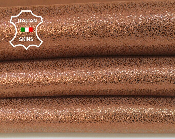 BROWN SHIMMER and SHINE pearlized look conker brown Goatskin Goat Leather skin hide skins hides material for sewing crafts 3sqf 0.9mm #A6023