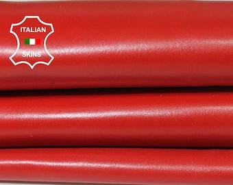 FERRARI RED smooth Italian Lambskin Lamb sheep leather skin hide skins hides 6sqf 0.8mm