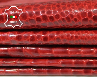 PATENT RED CROCODILE print texture shiny wet look textured Italian Lambskin Lamb sheep leather 3 skins hides total 15sqf 0.8mm