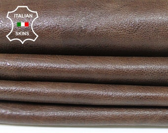 BROWN antiqued vintage look rough Italian Calfskin Calf cow leather material for sewing skin hide hides skins 12sqf 0.7mm #A5506