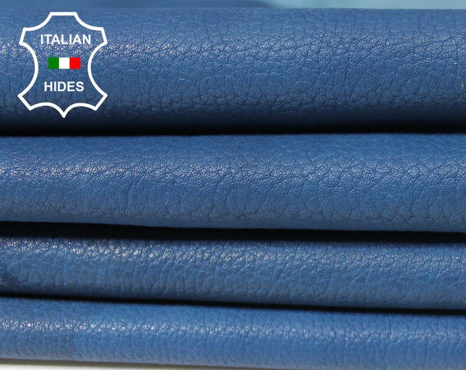 BLUE grainy Italian Calfskin Calf Cow Cowhide leather 2 skins hides total 15sqf 1.2mm #A5322