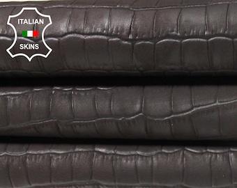 BROWN ANTIQUED CROCODILE Embossed dark brown textured vegetable tan Italian Lambskin Lamb sheep leather 8 skins total 26sqf 0.5mm #A5470