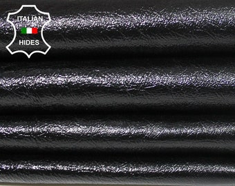 PATENT BLACK CRINKLE crinkled shiny soft Italian Lambskin Lamb Sheep leather skin hide skins hides 6sqf 0.7mm #A5329