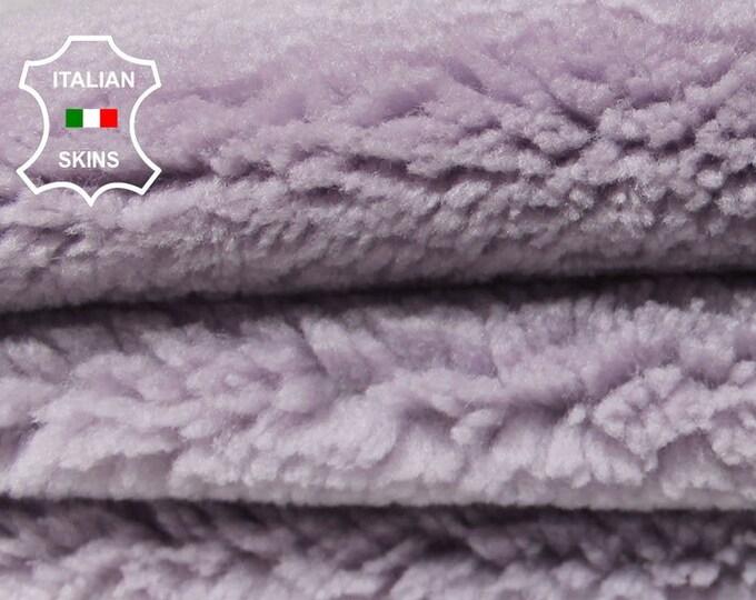 LILAC LAVENDER MAUVE with leather backside sheepskin merino rug hair on shearling fur sheep Italian leather  skins hides 5-6sqf