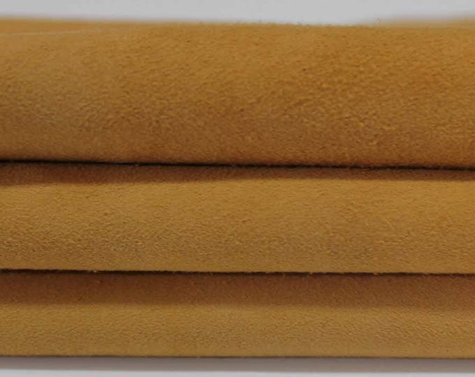 AMBRA TAN suede lamb sheep lambskin Italian genuine leather skin hide skins hides 3sqf #A3060