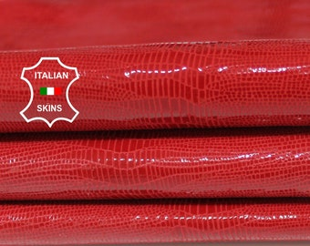 RED TEJUS reptile texture print textured lizard shiny Italian Goatskin Goat leather skins hides 2-3sqf 0.8mm #A6804
