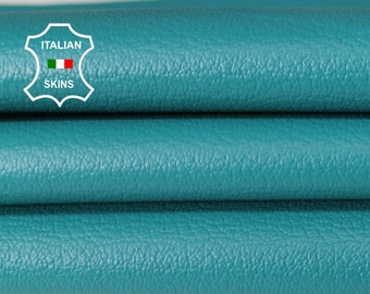 TEAL TURQUOISE BLUE pebble grainy grain textured Italian Lambskin Lamb Sheep leather skin skins hides 4-8sqf 0.6mm #A6661