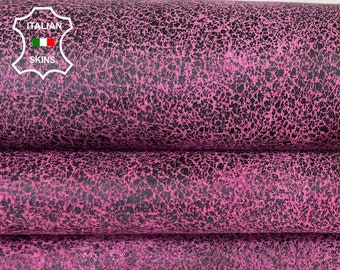 HOT PINK ANTIQUED Distressed black fuchsia stonewash vintage look Italian lambskin lamb sheep leather skin skins hides 6+sqf 0.8mm #A8286