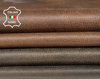 BROWN ANTIQUED PACK 2 Shades vintage look soft Italian Lambskin Lamb Sheep leather pack 2 skins total 18sqf 0.7mm #A8499