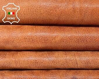 BROWN TERRACOTTA vintage look vegetable tan soft Italian Lambskin Lamb Sheep leather pack 2 skins total 15sqf 0.6mm #A8498