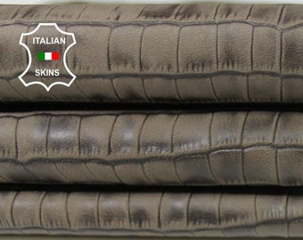 KHAKI ANTIQUED CROCODILE Embossed army textured vegetable tan Italian Lambskin Lamb sheep leather 3 skins total 10sqf 0.5mm #A5472