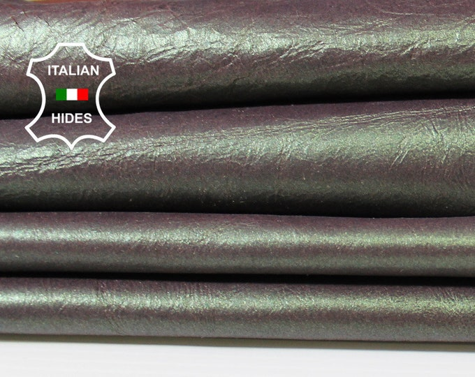 GREEN PEARLIZED on burgundy crinkled soft thin leather skin skins hide hides 6sqf 0.4mm #A5244