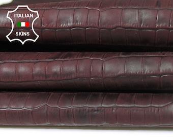 BURGUNDY ANTIQUED CROCODILE Embossed textured vegetable tan Italian Lambskin Lamb sheep leather 2 skins total 5sqf 0.5mm #A5471