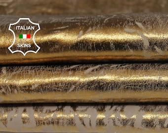 METALLIC OLD GOLD distressed vintage look Italian Lambskin Lamb Sheep leather skin skins hide hides 8sqf 1.2mm #A7282
