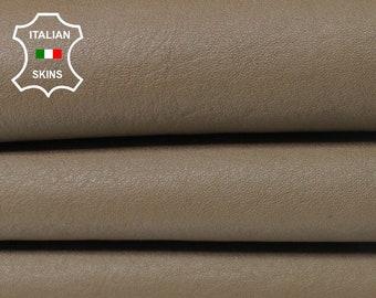 KHAKI BROWN with beige Wool backside soft Italian Lambskin Lamb Sheep leather skin hide hides skins 5sqf #A5527