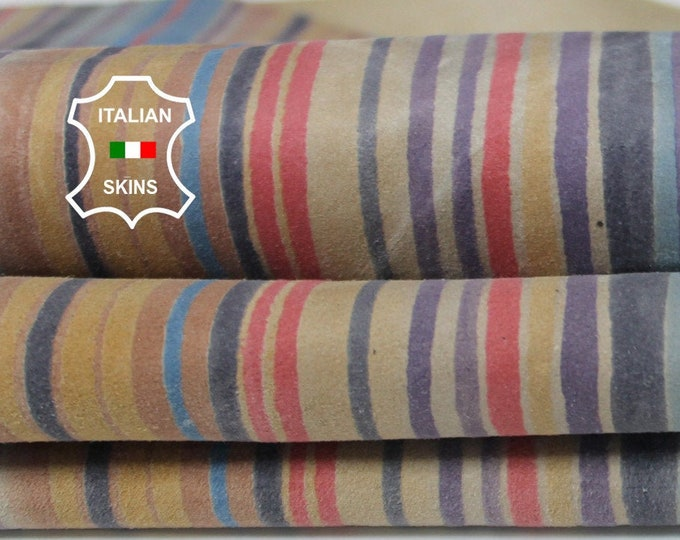 MULTICOLORS STRIPS SUEDE printed textured Italian Goatskin Goat leather skin skins hide hides 5sqf 0.7mm #A6495