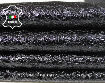 PATENT BLACK CRINKLE crinkled grainy shiny soft Italian Lambskin Lamb Sheep leather skin hide skins hides 6sqf 0.7mm #A5330