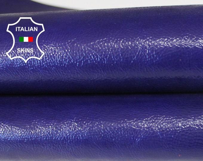 INDIGO purplish blue crinkle crinkled patent shiny Italian Goatskin Goat leather skin hide skins hides 4sqf 0.5mm #A6489