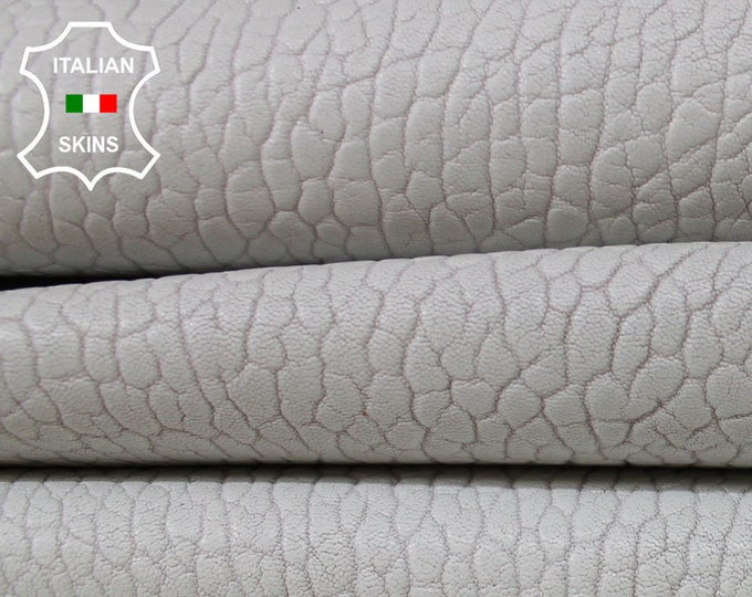 WHITE GRAINY THICK vegetable tan tanned Italian Lambskin Lamb Sheep leather 2 skins hides total 10sqf 1.5mm #A5978
