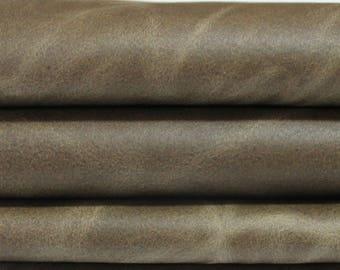 OLIVE GREEN 2 tones  Calf Calfskin Italian genuine leather skin skins hide hides 8sqf #A2871