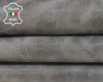 GRAY CRINKLED crinkle grey antiqued vintage look Italian Goatskin Goat leather 4 skins hides total 25sqf 0.9mm #A5981