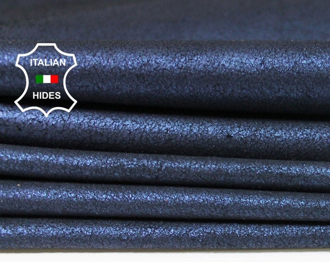 PEARLIZED CRACKED BLUE crackled thin soft Italian Lambskin Lamb Sheep leather 3 skins hides total 24sqf 0.4mm #A5259