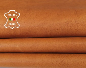 NATURAL TAN NAKED vegetable tanned Italian Lambskin Lamb Sheep leather material for crafts 7sqf 1.0mm #A6565