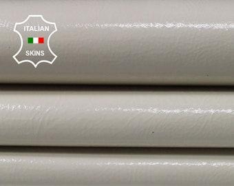 PATENT ECRU bone bones beige shiny Italian genuine Goatskin Goat leather skin hide skins hides 3-4sqf 1.1mm #A7121