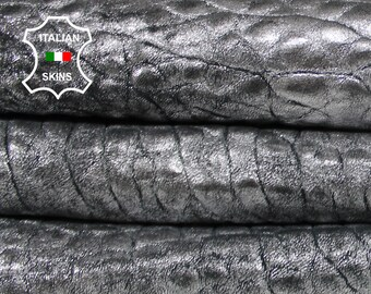 METALLIC SILVER ANTIQUED distressed washed bubbly grainy textured vintage thick Lambskin Lamb Sheep leather skin skins 5sqf 2.0mm #A6898
