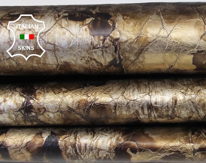 METALLIC BRONZE old gold distressed crackled vintage look Italian Goatskin Goat leather skin hide skins hides 5-7sqf 0.6mm #A6600