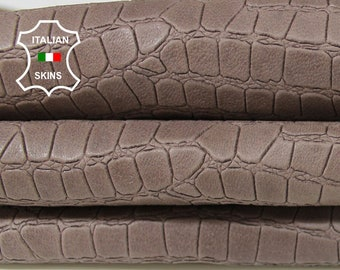 NATURAL TAUPE Crocodile embossed textured vegetable tan light taupe brown Lambskin Lamb Sheep leather 3 skins total 27sqf 1.0mm #A5997