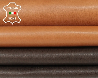 NATURAL BROWN pack 2 SHADES soft Genuine Italian Lambskin Lamb Sheep leather material sewing crafts 2 skins total 9sqf 0.7mm #A6107