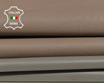 TAUPE BROWN 2 SHADES Italian Lambskin Lamb sheep Leather bookbinding crafts sewing 2 skins hides total 12sqf 1.0mm #A6833