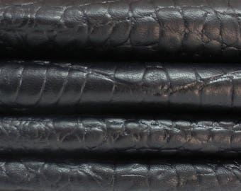 BLACK crocodile textured embossed soft Italian genuine  lambskin lamb sheep leather skin skins hide hides 12sqf #A2945