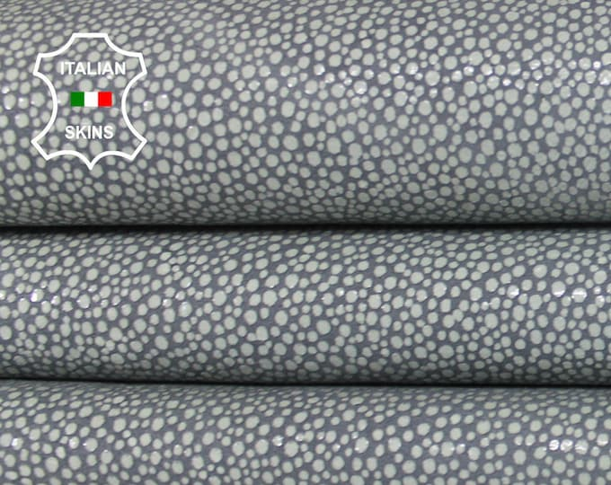 GREY white reptile print cracked textured gray vintage look Italian Lambskin Lamb Sheep leather 2 skins hides total 12sqf 0.8mm #A6485