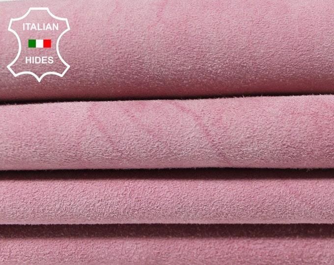 PINK SUEDE VINTAGE distressed sewing material fabric Italian Lambskin Lamb Sheep Leather 3 skins hides total 20sqf 0.9mm #A5075