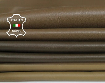 OLIVE 3 SHADES pack soft Italian Lambskin Lamb Sheep leather pack 3 skins hides total 16sqf 0.7mm #A6116
