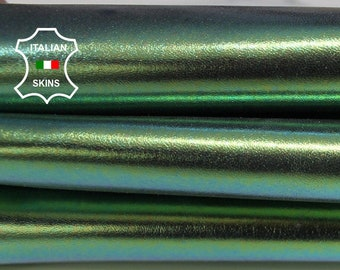 METALLIC IRIDESCENT GREEN smooth italian Goatskin Goat Leather skin skins hide hides material for sewing crafts 4sqf 0.9mm #A6029