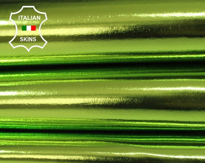 METALLIC LIME GREEN thick Italian Lambskin Lamb leather hide skin 7sqf 1.0mm